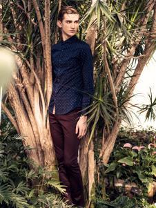 翡翠蓝色波点衬衫
