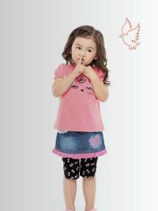 祺村普女童粉色T恤