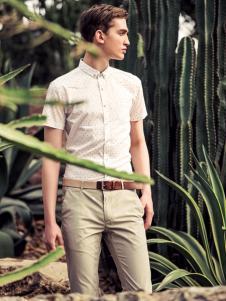 翡翠男装白色短袖衬衫