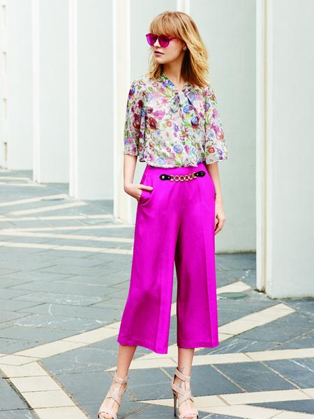 香影紫色七分阔腿裤