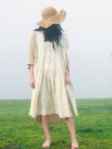 因为ZOLLE女装春季新款棉麻连衣裙