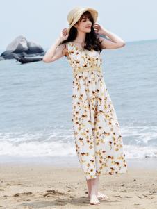 尚州收腰印花长裙