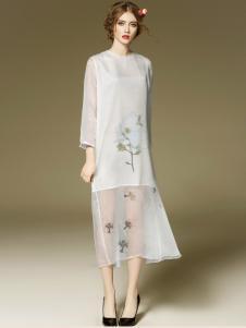 斯妲黛莎假两件雪纺裙