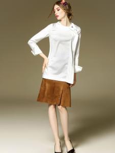 斯妲黛莎白色长袖T恤