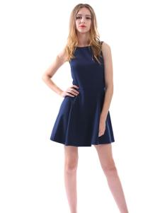 艾丽莎夏季新款无袖小短裙