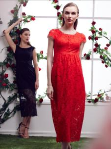 古舞花色红色长款蕾丝连衣裙