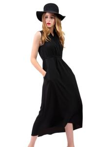 艾丽莎夏季新款无袖长款连衣裙