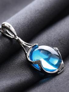 晶石灵天蓝色吊坠