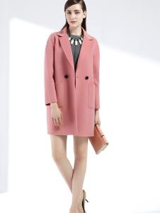 婉亦粉色呢大衣