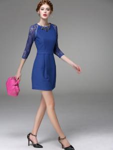 斯妲黛莎蓝色修身裙