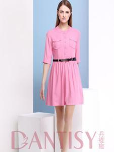 丹缇施粉红衬衫裙