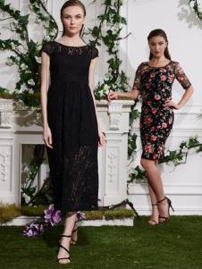 古舞花色黑色长款蕾丝连衣裙