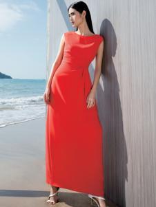 佛尼亚夏季红色长裙