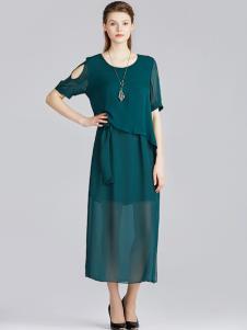 宝丝露墨绿色连衣裙