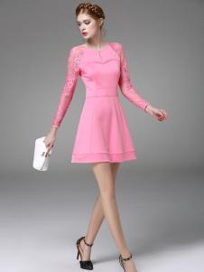 斯妲黛莎粉色长袖裙