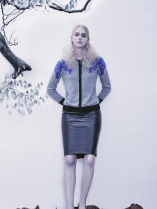 2016赞雅女装灰色印花外套