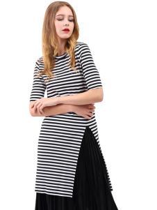艾丽莎夏季个性条纹连衣裙