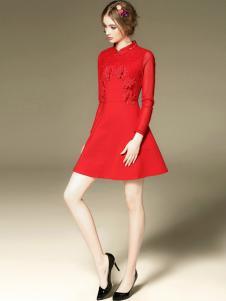 斯妲黛莎红色长袖连衣裙