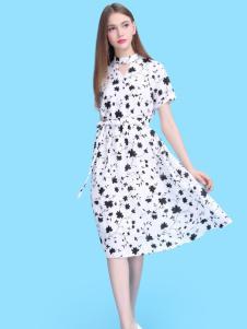 淑女日记女装黑白连衣裙