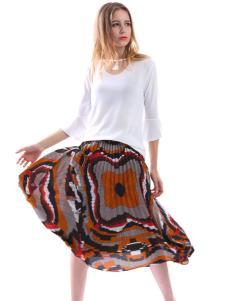 艾丽莎夏季个性印花裙子