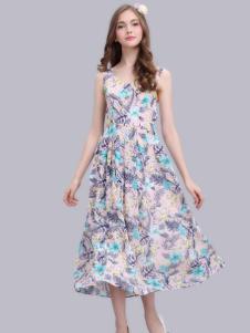 淑女日记女装花色连衣裙