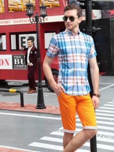 XEZO男装夏季新款短袖衬衫