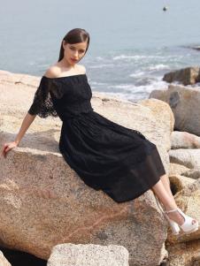2016诺娜莉新款黑色连衣裙