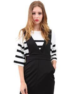 艾丽莎夏季个性条纹连衣裙套装