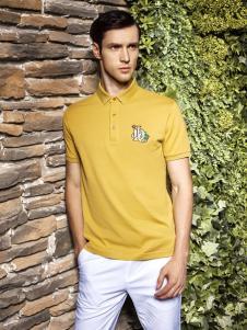 爱迪·丹顿黄色翻领T恤