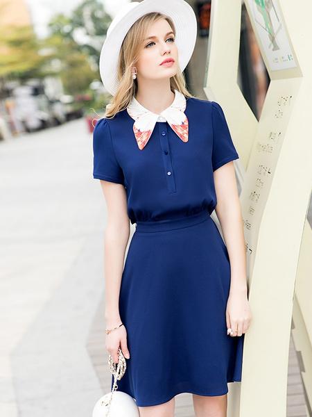 斯妲黛莎夏季蓝色束腰连衣裙