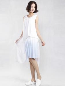 味道2016夏装新品白色连衣裙