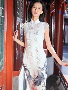2016水润天青新款白色旗袍