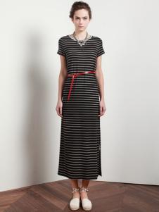依楠条纹连衣裙