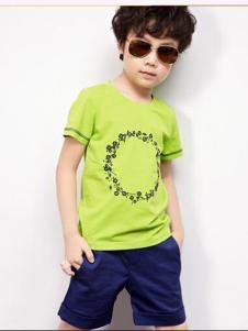 2016越也童装草绿色T恤