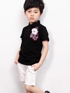 2016越也童装立领黑色T恤