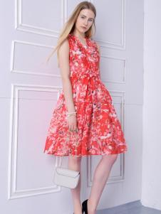 2016然可时女装新款红色连衣裙