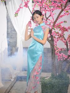 2016水润天青新款青蓝色旗袍