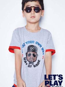 小李宁灰色男童T恤