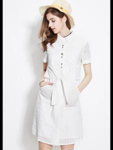 2016衣香丽影白色衬衫连衣裙