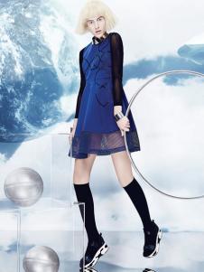 秀亦2016新品蓝色连衣裙