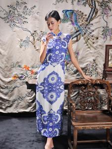 2016水润天青新款青花瓷色旗袍