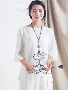 麻蚕禅圆领白色T恤