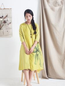 麻蚕禅黄色连衣裙