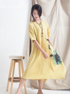 麻蚕禅V领连衣裙