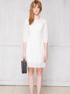 红贝缇夏季新款白色连衣裙