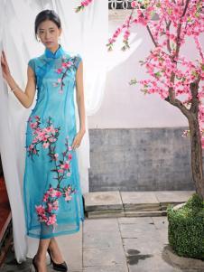 2016水润天青新款浅蓝色旗袍