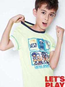 小李宁男童黄色T恤
