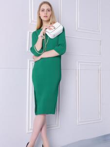 2016然可时女装新款绿色连衣裙