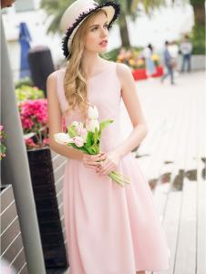 斯妲黛莎粉色雪纺裙