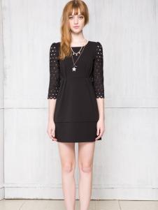 红贝缇黑色连衣裙新款